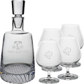 FINLAND DECANTER (ETCH) & 4 BRANDY